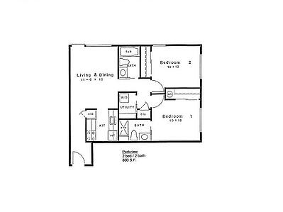 Floor plan of 800 S.F. 2 bed 2 bath home in 55+ apartments at Daystar Retirement in West Seattle