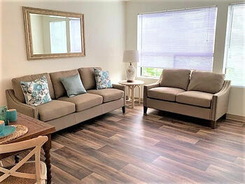Interior living room of Parkview 55+ apartment at Daystar Retirement in West Seattle